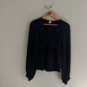 Anthropologie Odille Black Blouse Bubble Sleeve